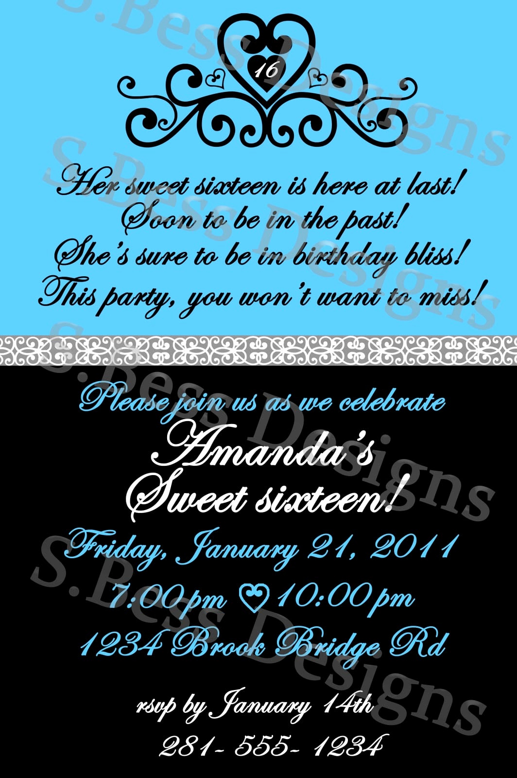 Sweet 16 Invitation Templates Unique Free Sweet 16 Invitation Template
