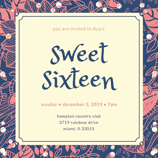 Sweet 16 Invitation Templates Unique Sweet 16 Invitation Templates Canva