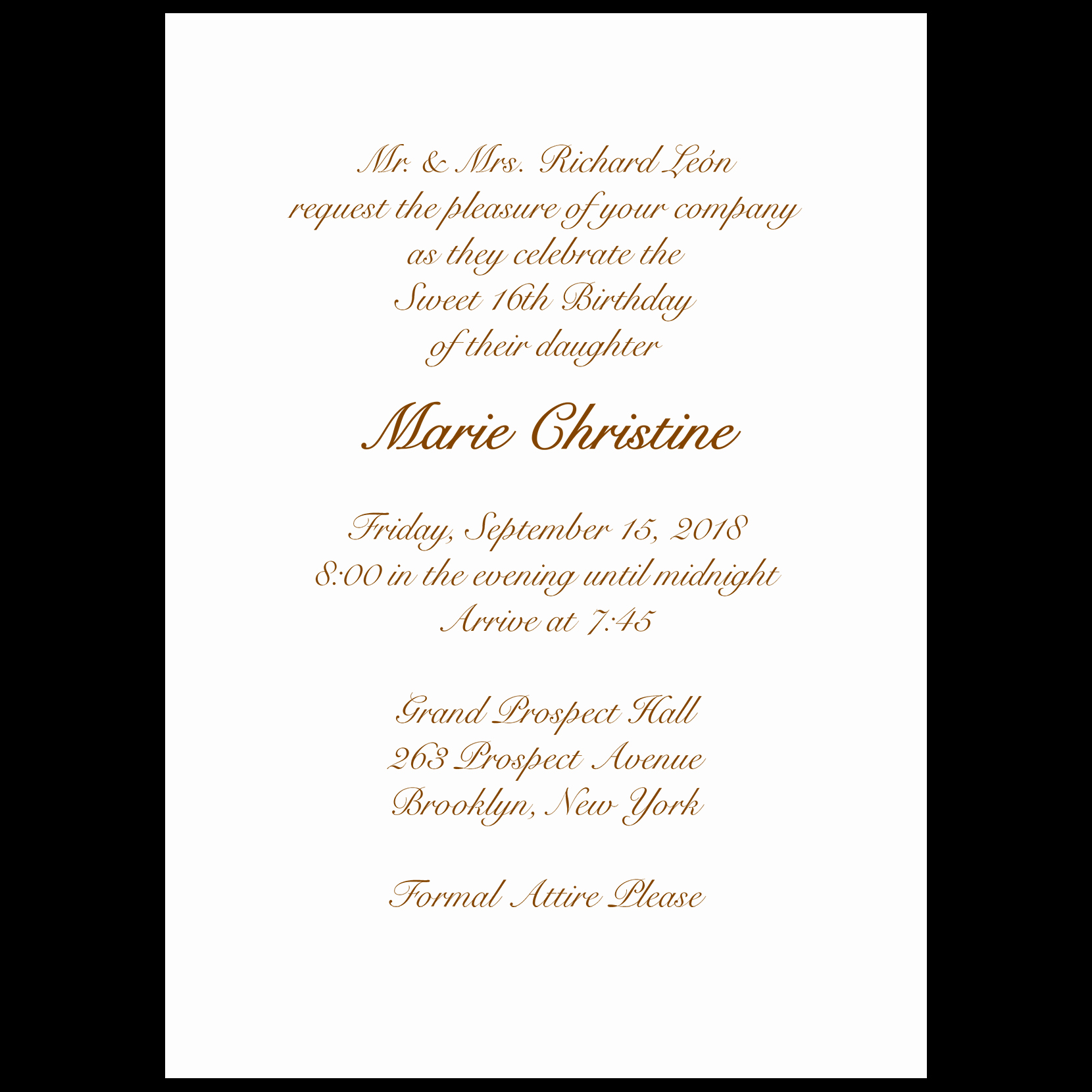 Sweet 16 Invitation Wording Awesome Sweet Sixteen Invitation Style 1 Sample A ⋆ Ipv Studio