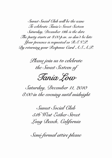 Sweet 16 Invitation Wording Elegant Sweet Sixteen Invitation Style 3 Sample B