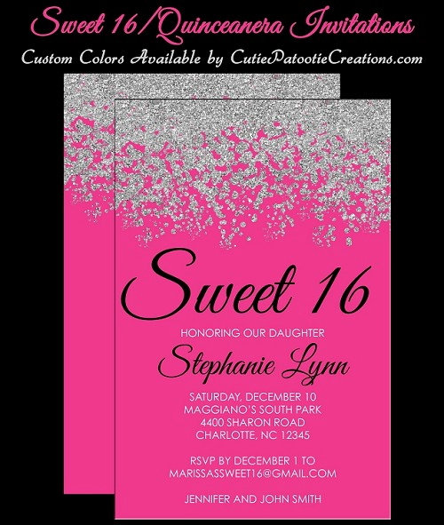 Sweet 16 Invitation Wording Inspirational Hot Pink and Silver Sweet 16 Invitations Quinceanera