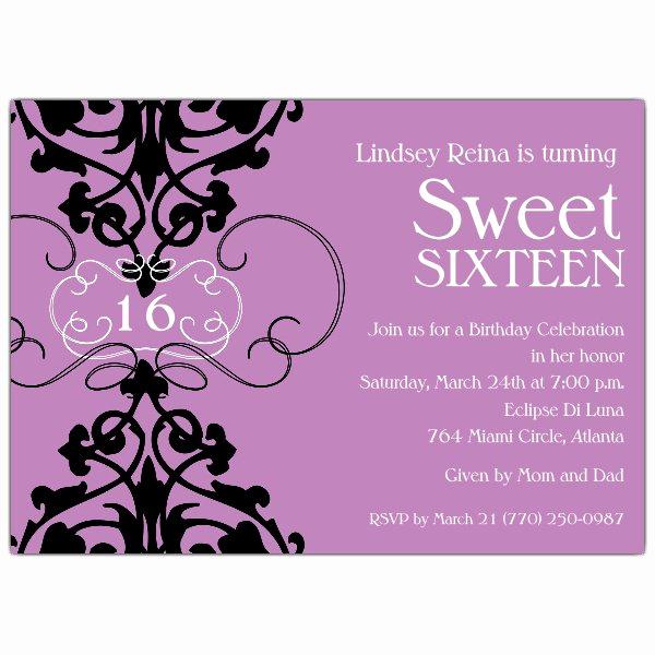 Sweet 16 Invitation Wording Lovely Fleur Lavender Sweet 16 Invitations