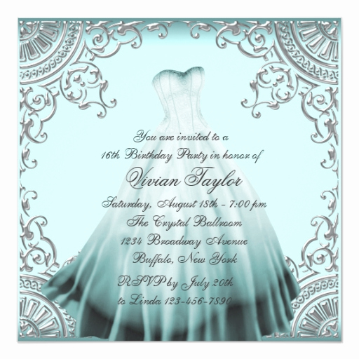 Sweet 16 Invitation Wording Lovely Silver Teal Blue Sweet Sixteen Birthday Party Invitation