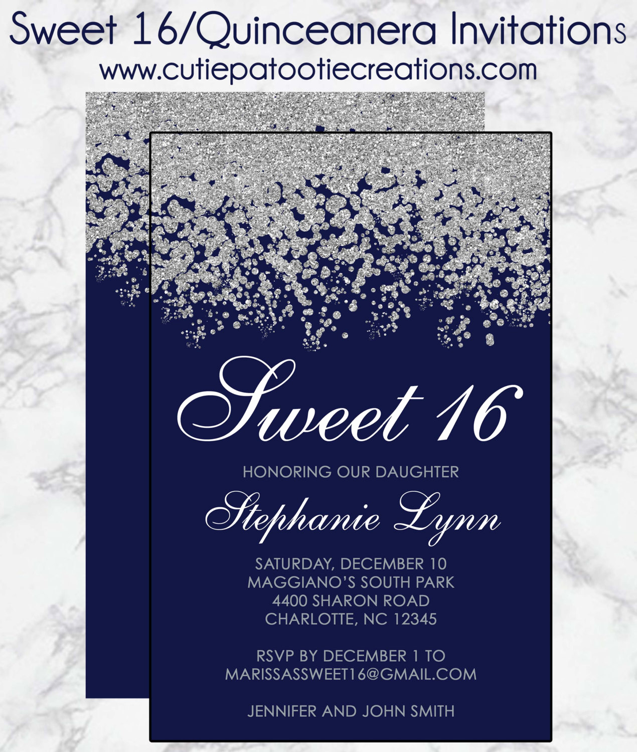 Sweet 16 Invitation Wording Lovely Sweet 16 Birthday Invitations Quinceanera Invitation Navy
