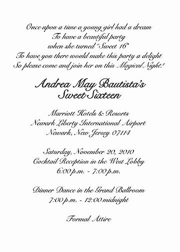 Sweet 16 Invitation Wording New Sweet Sixteen Invitation Style 1 Sample C