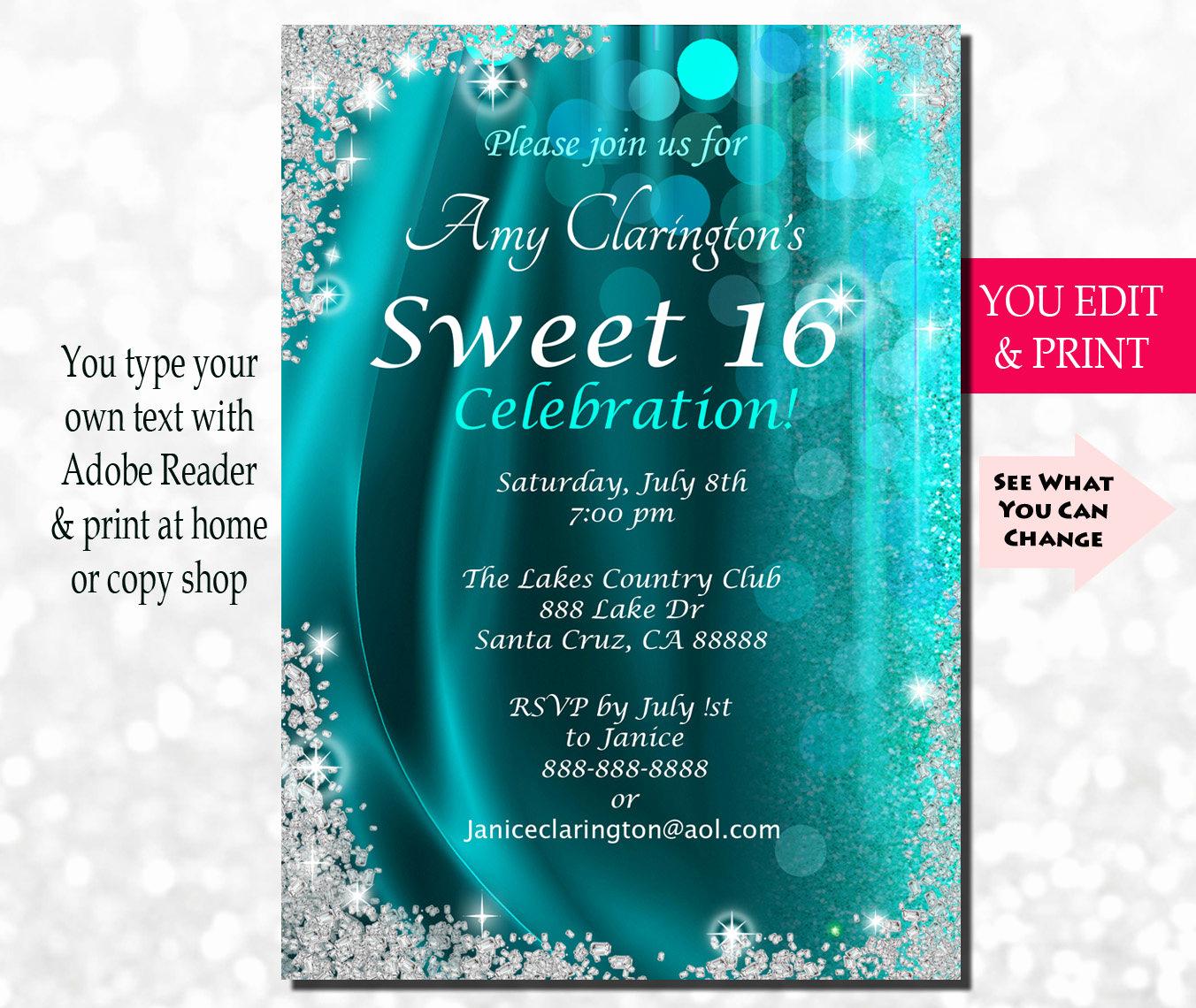 Sweet 16 Invitation Wording Unique Sweet Sixteen Invitation Sweet Sixteen Party Invitation
