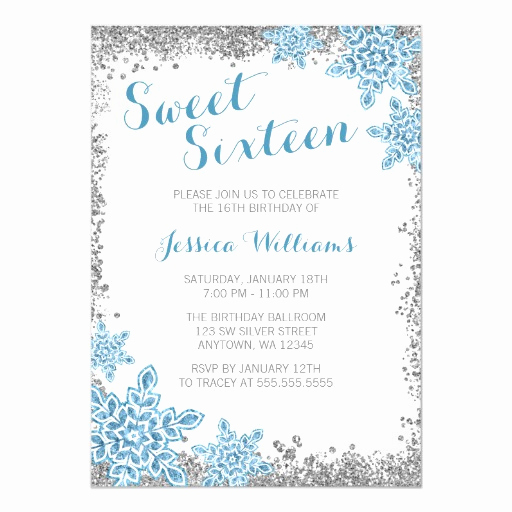 Sweet 16 Invitation Wordings Beautiful Sweet 16 Glam Winter Wonderland Silver Blue Card