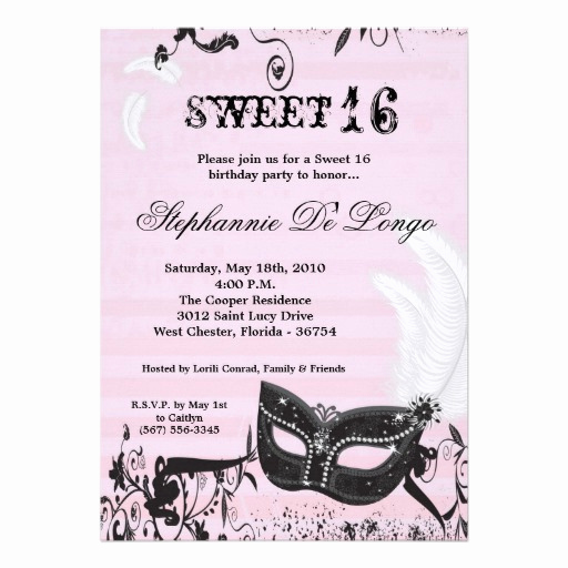 "Sweet 16 Invitation Wordings Fresh 5x7 Pink Masquerade Sweet 16 Birthday Invitation 5"" X 7"