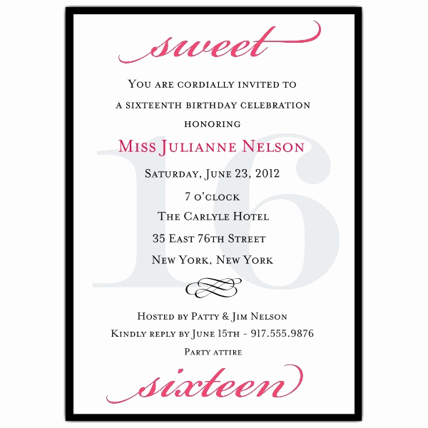 Sweet 16 Invitation Wordings Fresh Sweet 16 Invitation Quotes Quotesgram