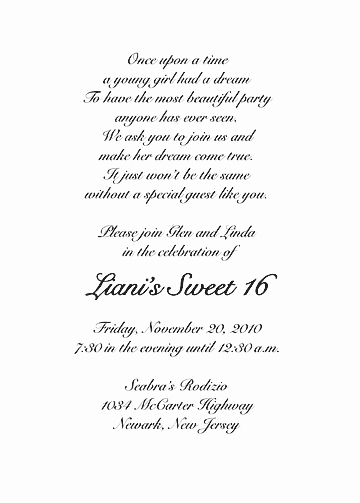 Sweet 16 Invitation Wordings Fresh Sweet Sixteen Invitation Style 1 Sample B