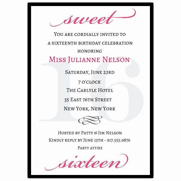 Sweet 16 Invitation Wordings Lovely Classic Pink Sweet 16 Birthday Invitations