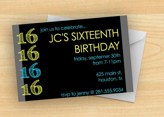 Sweet 16th Invitation Wording Awesome Bold and Bright Boy S 16th Birthday Party Invitation by
