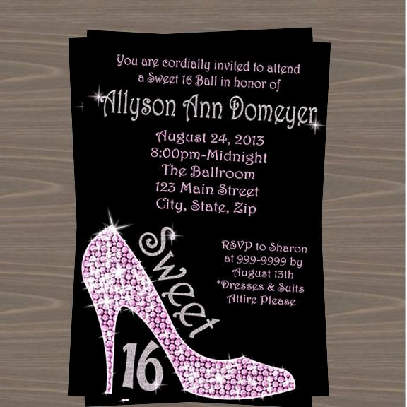 Sweet 16th Invitation Wording Beautiful Sweet 16 Glitter High Heels Party Invitation