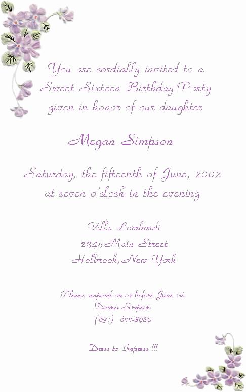 Sweet 16th Invitation Wording Beautiful Sweet 16 Invitation Quotes Quotesgram