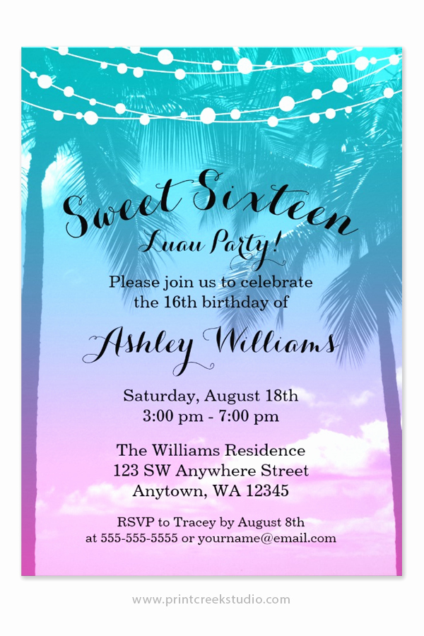 Sweet 16th Invitation Wording Best Of Tropical Luau Teal Pink Sweet 16 Birthday Invitations