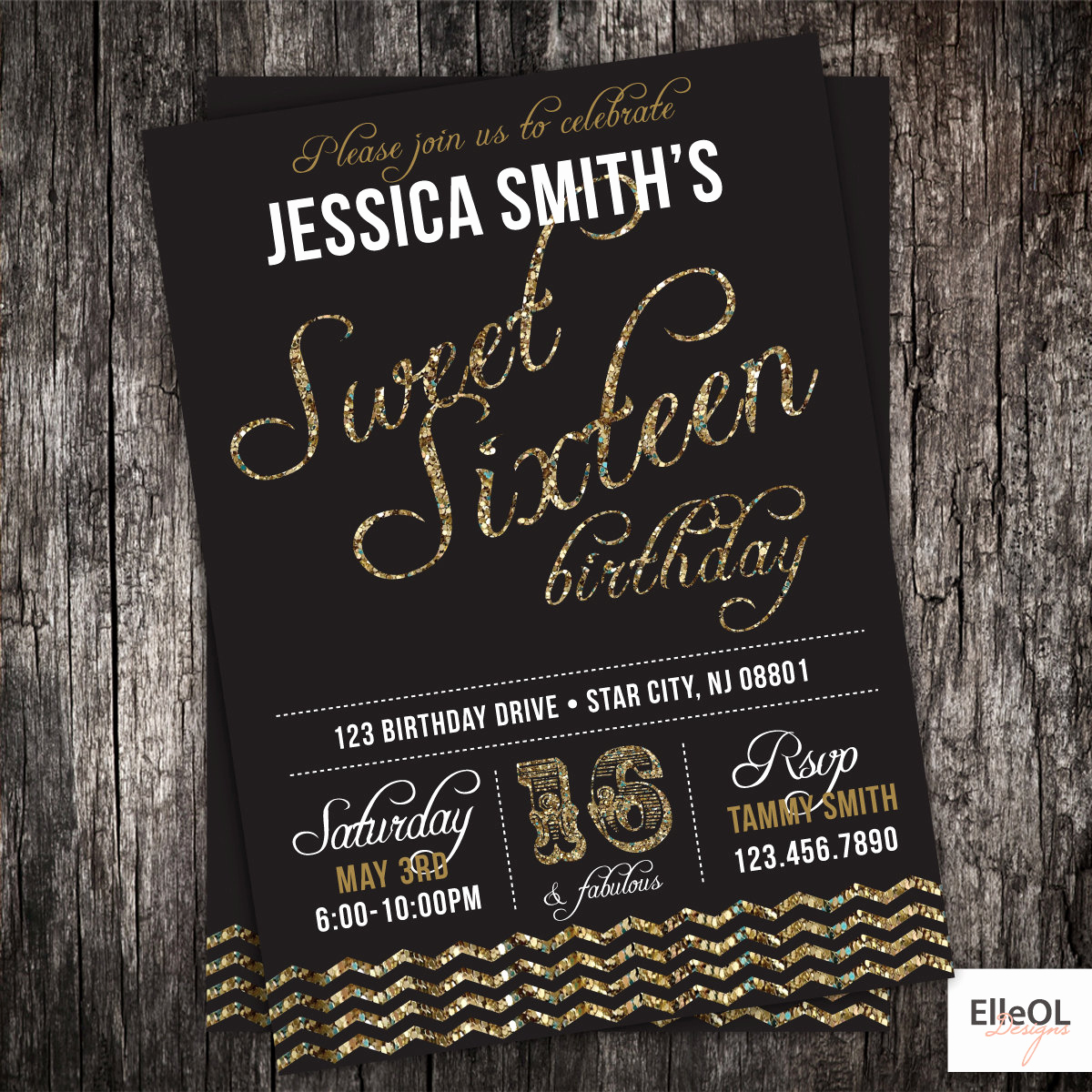 Sweet 16th Invitation Wording Fresh Glitter Sweet 16th Birthday Party Invitation 21st 30th Any