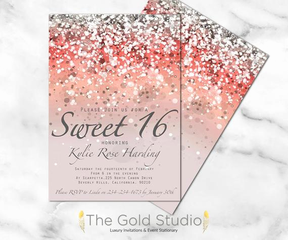 Sweet 16th Invitation Wording Fresh Sweet 16 Invitation Sweet Sixteen Coral Glitter Invite 16th