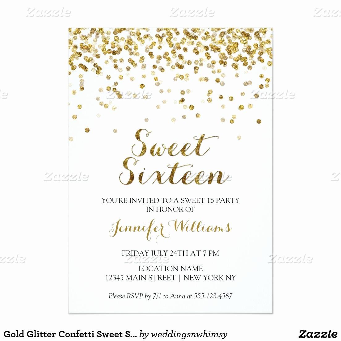 Sweet 16th Invitation Wording Luxury Gold Glitter Confetti Sweet Sixteen 16 Invitation