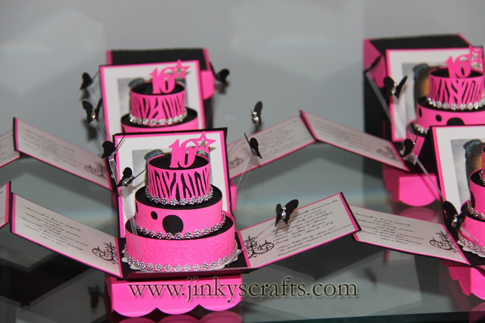 Sweet Sixteen Invitation Ideas Beautiful Jinky S Crafts & Designs Hot Pink Zebra Print Cakes Invites