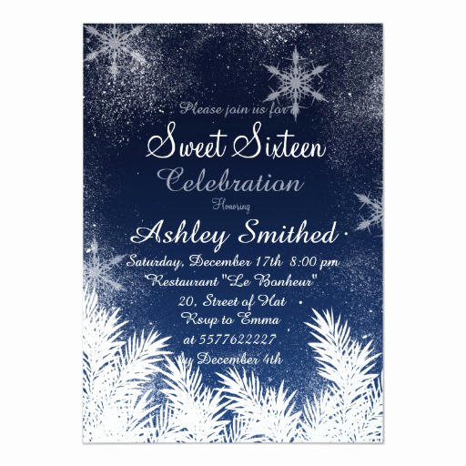 Sweet Sixteen Invitation Ideas Elegant Elegant Navy Blue Snowflake Winter Sweet 16 Card