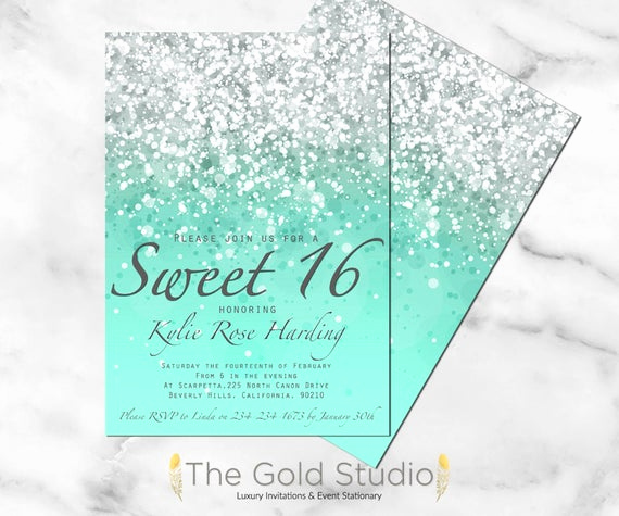 Sweet Sixteen Invitation Ideas Elegant Sweet 16 Invitation Sweet Sixteen Mint Green Glitter Invite