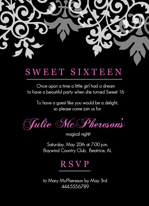 Sweet Sixteen Invitation Ideas Fresh Sweet 16th Birthday Invitations Templates Free Printable
