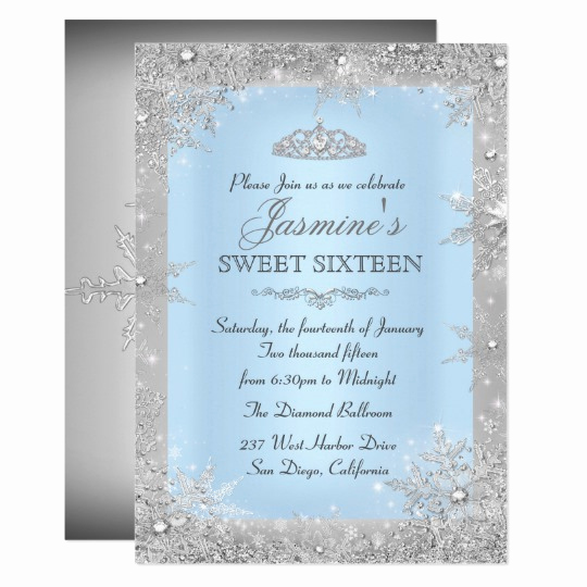 Sweet Sixteen Invitation Ideas Inspirational Silver Winter Wonderland Blue Sweet 16 Invitation