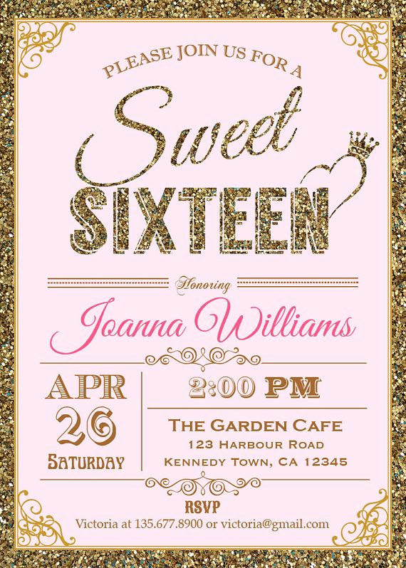 Sweet Sixteen Invitation Ideas Lovely Glitter Sweet Sixteen Invitation Sequin by