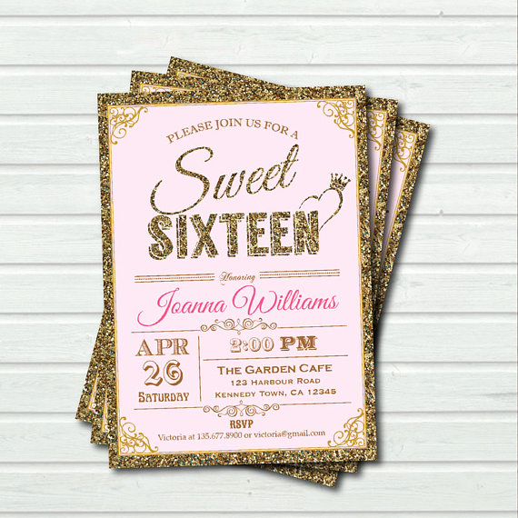 Sweet Sixteen Invitation Ideas Lovely Pink and Gold Sweet Sixteen Invitation Sequin Sweet 16