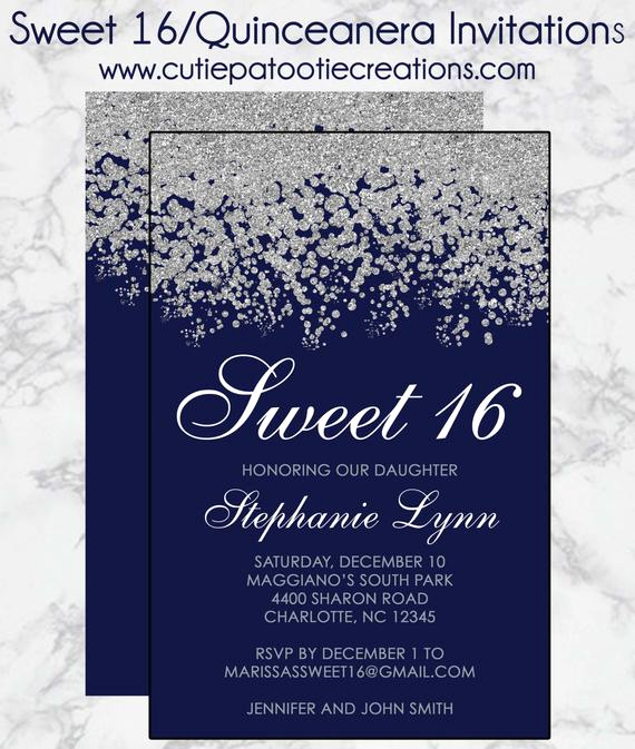 Sweet Sixteen Invitation Ideas New Sweet 16 Birthday Invitations Quinceanera Invitation Navy
