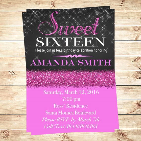 Sweet Sixteen Invitation Template Awesome Printable Sweet 16 Birthday Party Invitation by