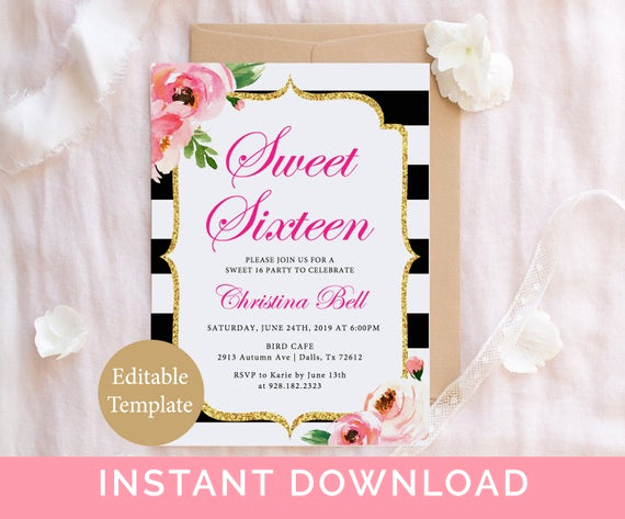 Sweet Sixteen Invitation Template Beautiful Kate Sweet 16 Invitation Template 16th Birthday Invitation