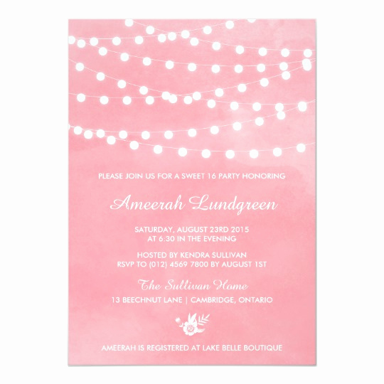 Sweet Sixteen Invitation Template Best Of Fairy Lights Pink Sweet Sixteen Party Invitation