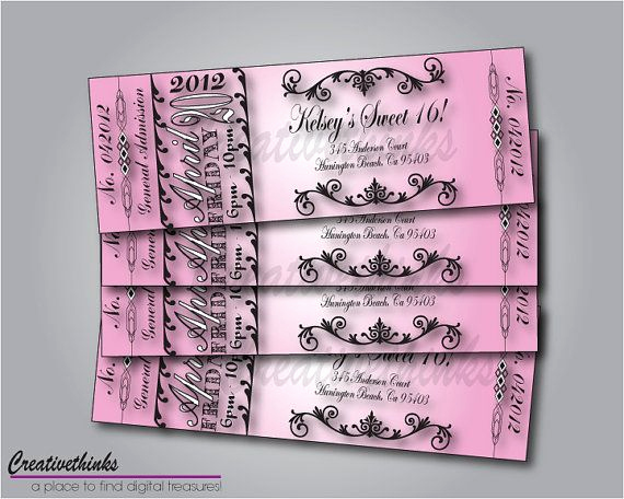 Sweet Sixteen Invitation Template Fresh 1000 Images About Ticket Designs On Pinterest