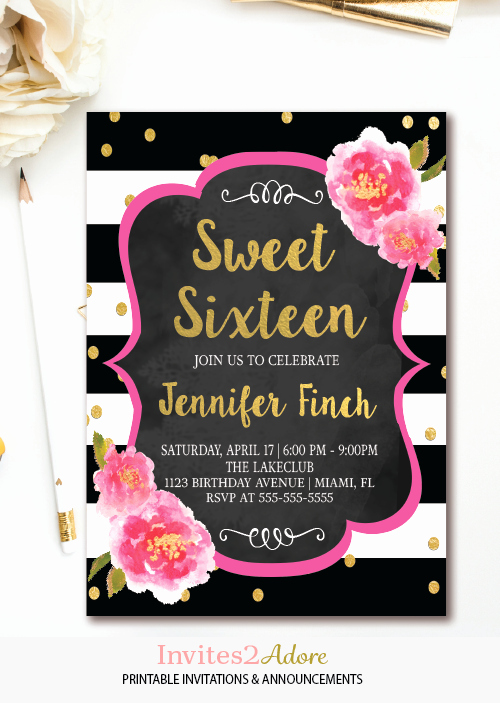 Sweet Sixteen Invitation Template Fresh Black and White Stripe Sweet Sixteen Birthday Invitation