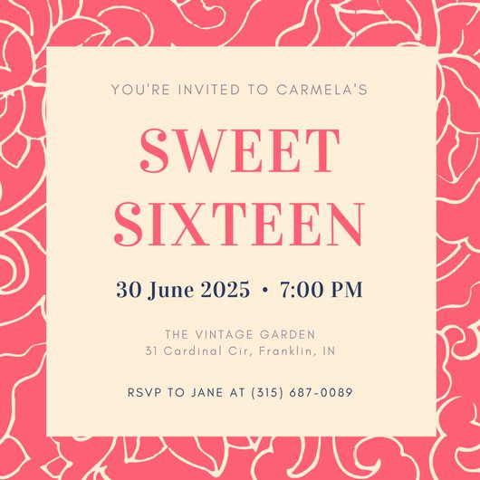 Sweet Sixteen Invitation Template Fresh Customize 545 Sweet 16 Invitation Templates Online Canva