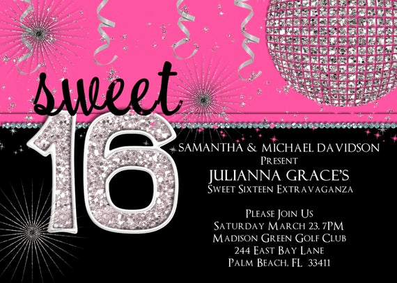 Sweet Sixteen Invitation Template Lovely Sweet 16 Birthday Invitation Hot Pink Custom and Printable