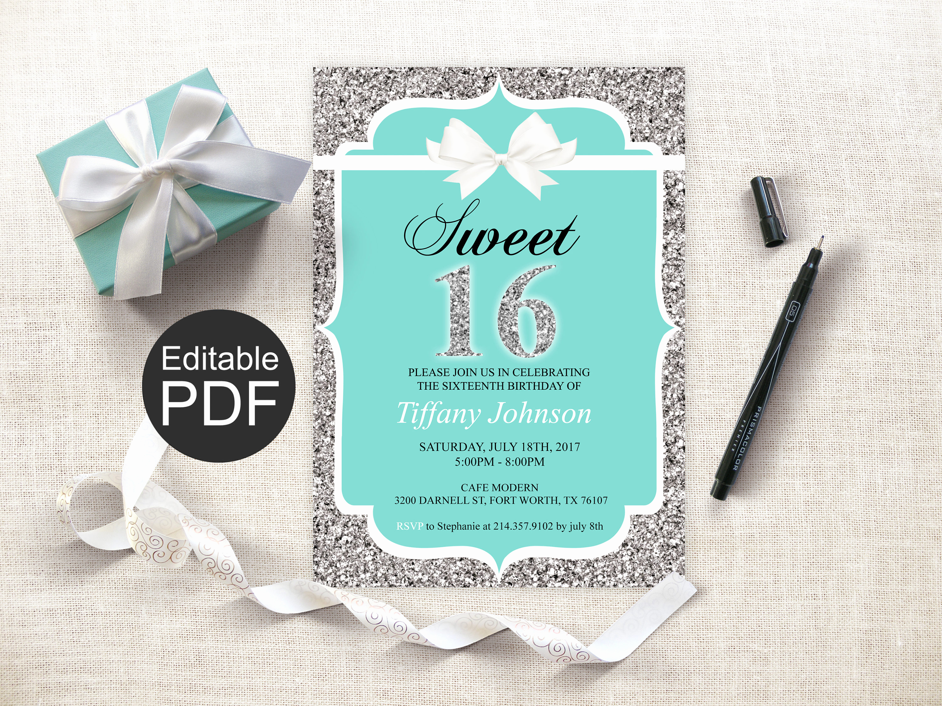Sweet Sixteen Invitation Template Lovely Sweet 16 Invitation Template Blue Sweet Sixteen Invites