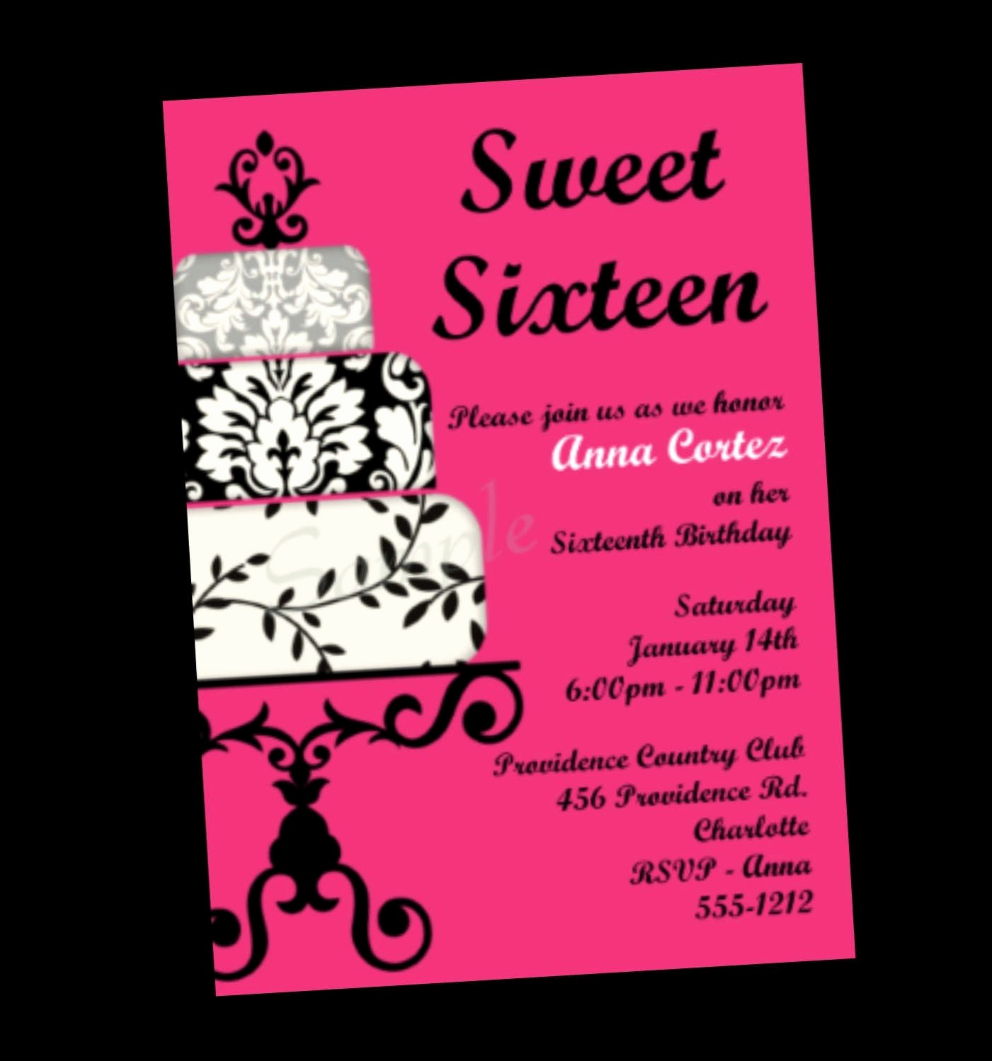 Sweet Sixteen Invitation Template Unique Invitations for Sweet 16 Birthday