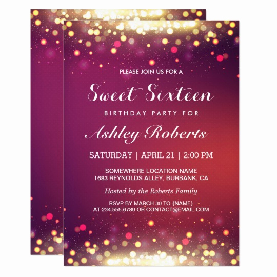 Sweet Sixteen Invitation Template Unique Sweet 16 Birthday Party Gold Shimmer Sparkles Card