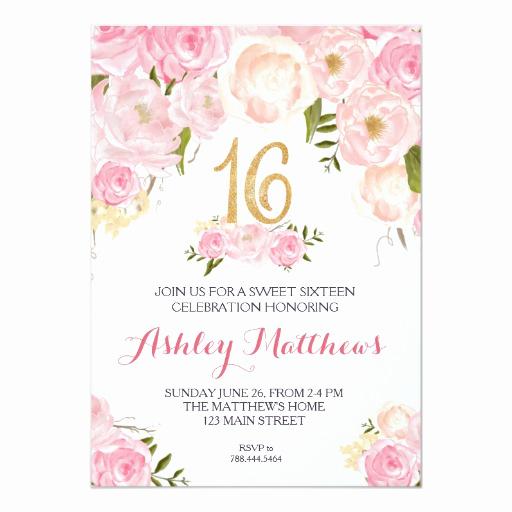 Sweet Sixteen Invitation Templates Beautiful Sweet Sixteen 16 Birthday Floral Invitation Card