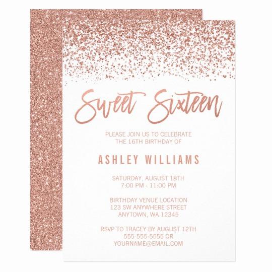 Sweet Sixteen Invitation Templates Elegant Modern Faux Rose Gold Glitter Sweet 16 Birthday Invitation