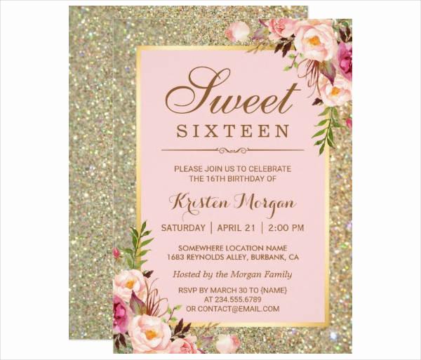 Sweet Sixteen Invitation Templates Inspirational 11 Sweet Sixteen Birthday Invitation Designs & Templates
