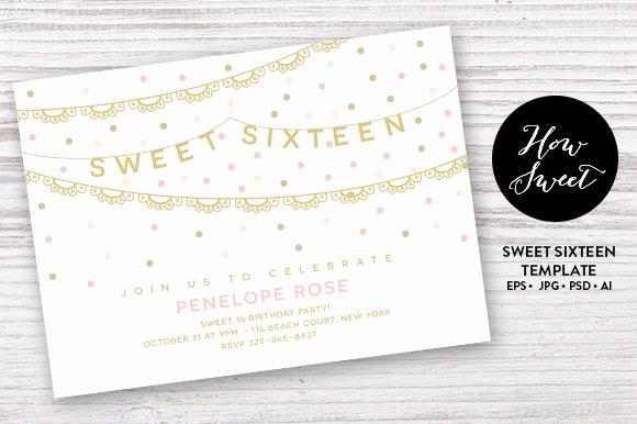 Sweet Sixteen Invitation Templates Inspirational Sweet Sixteen Party Card Eps Invitation Templates