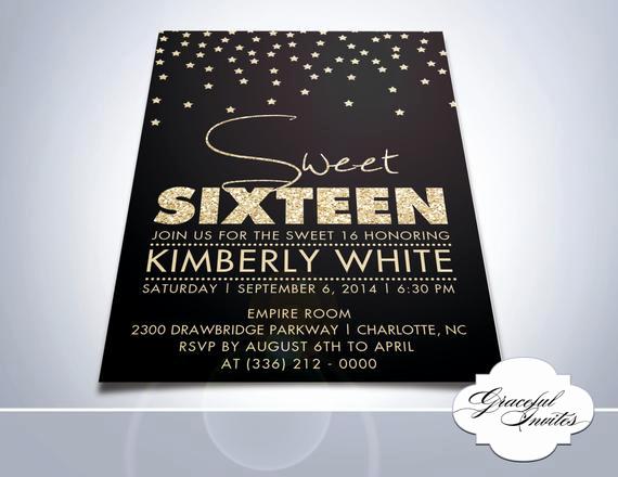 Sweet Sixteen Invitation Templates New Items Similar to Sparkling Sixteenth Invitation Sweet
