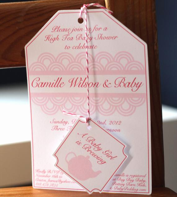 Tea Bag Invitation Template Beautiful Set Of 12 High Tea Party Baby Shower Tea Bag Invitations