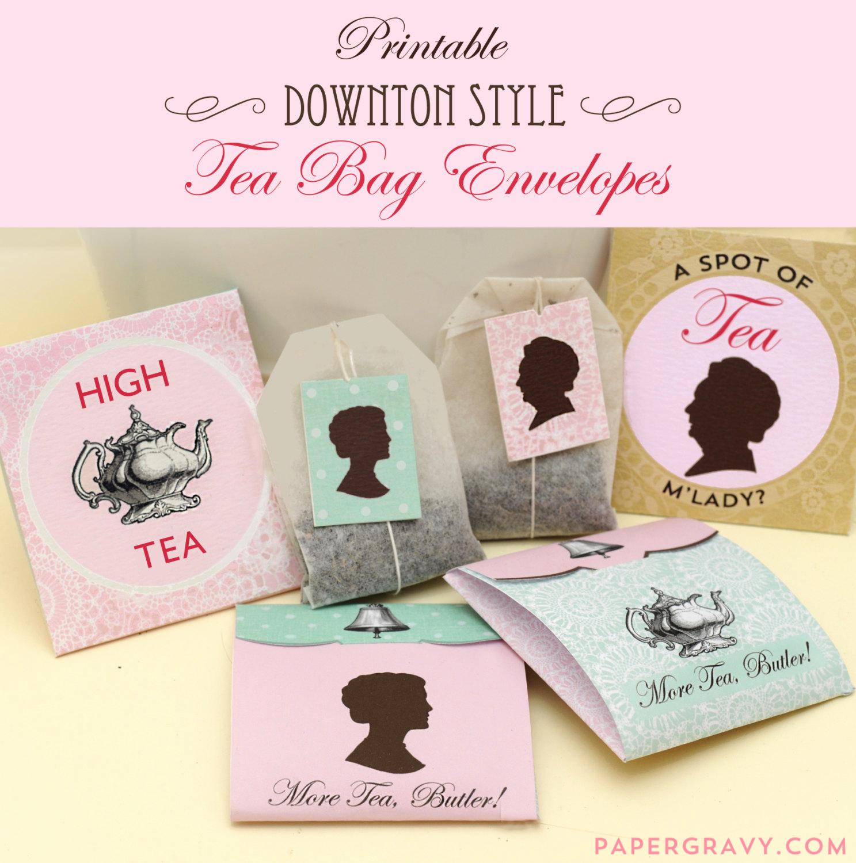 Tea Bag Invitation Template Elegant Printable Downton Style Tea Bag Envelopes Instant Download