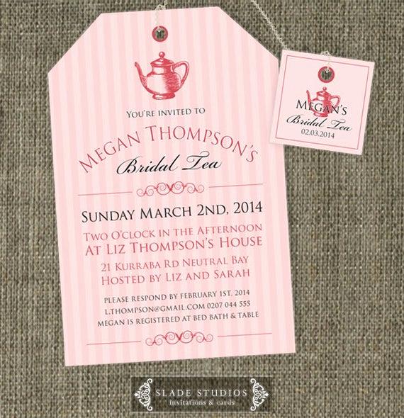 Tea Bag Invitation Template Luxury Bridal Tea Invitations High Tea Traditional Tea by