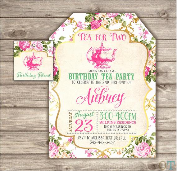 Tea Bag Invitation Template New Tea for Two Birthday Tea Bag Shape Invitations Second