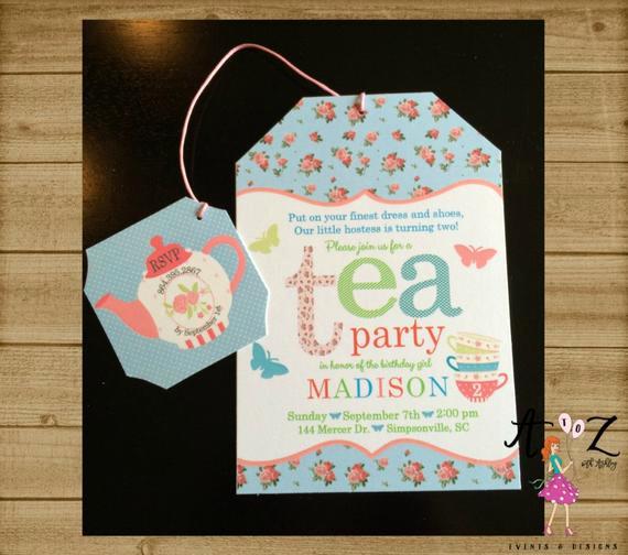 Tea Bag Invitation Template New Tea Party Birthday Invitation Tea Bag Invitation Tea Party
